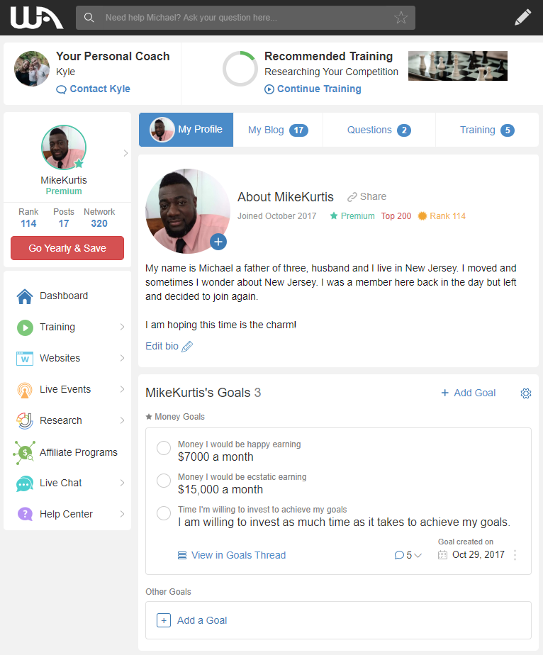 Mikes wealthy affiliate profile