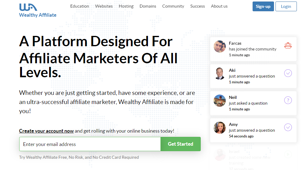 Wealthy affiliate university starter page
